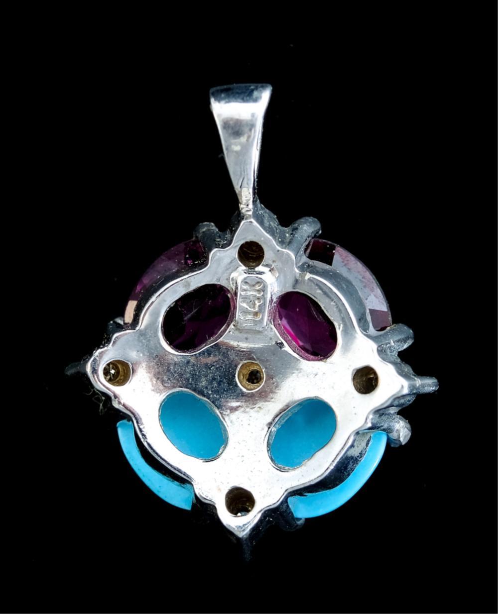 14k WG Amethyst Turquoise & Diamond Pendant
