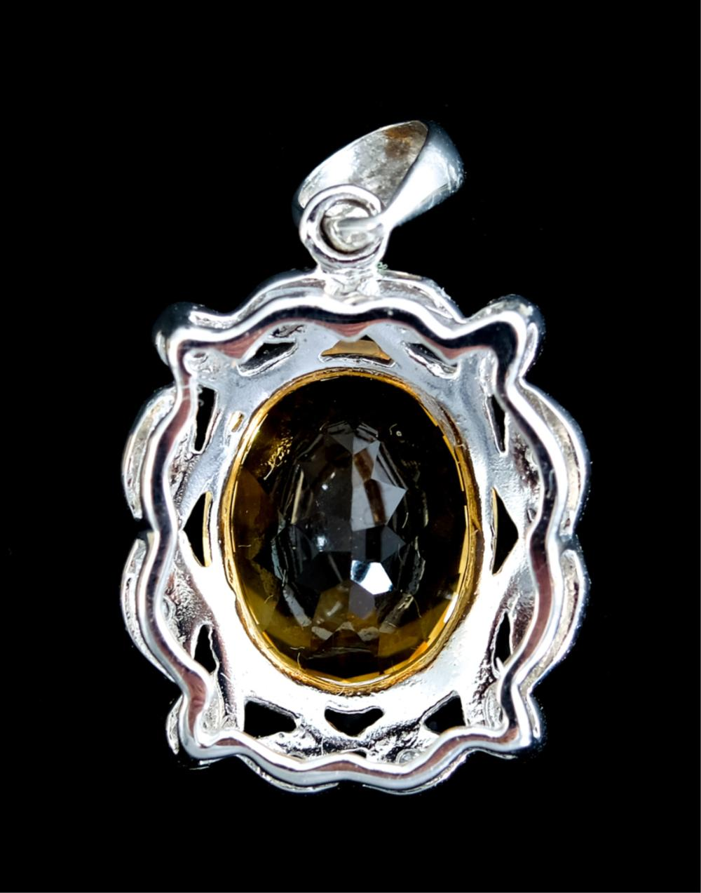 14k White Gold Citrine & Diamond Pendant
