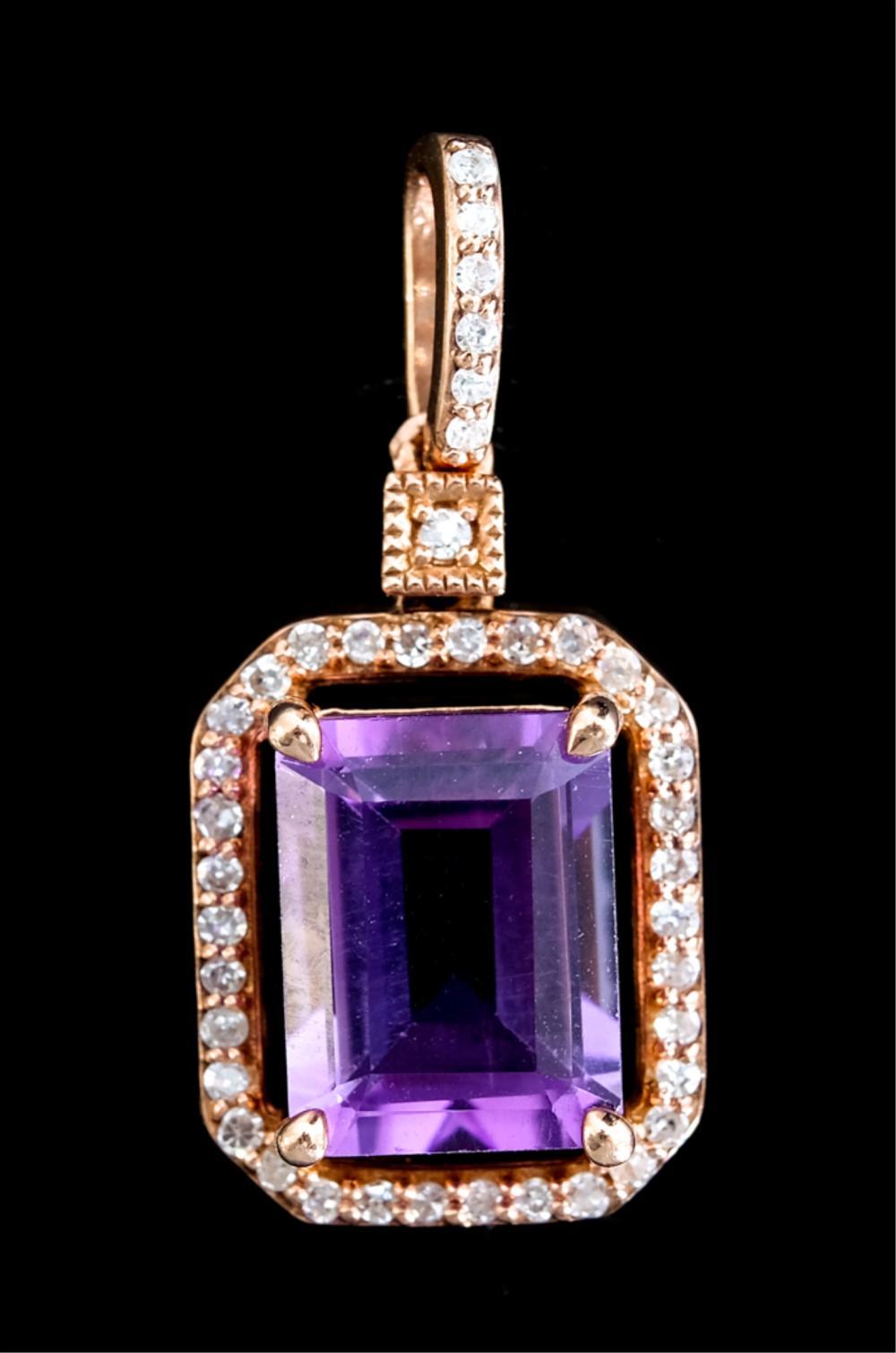 14k Rose Gold Amethyst & Diamond Pendant