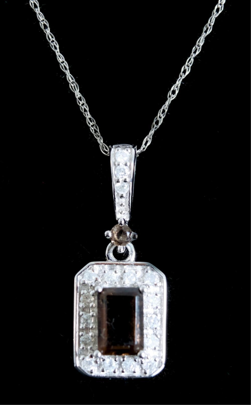 14k White Gold Topaz & Diamond Pendant Necklace