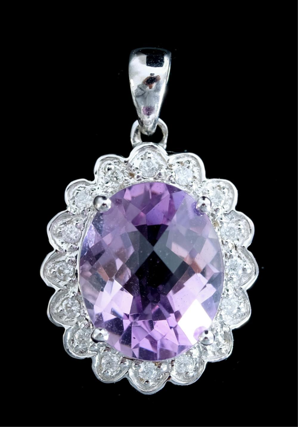 14k White Gold Amethyst Diamond Pendant