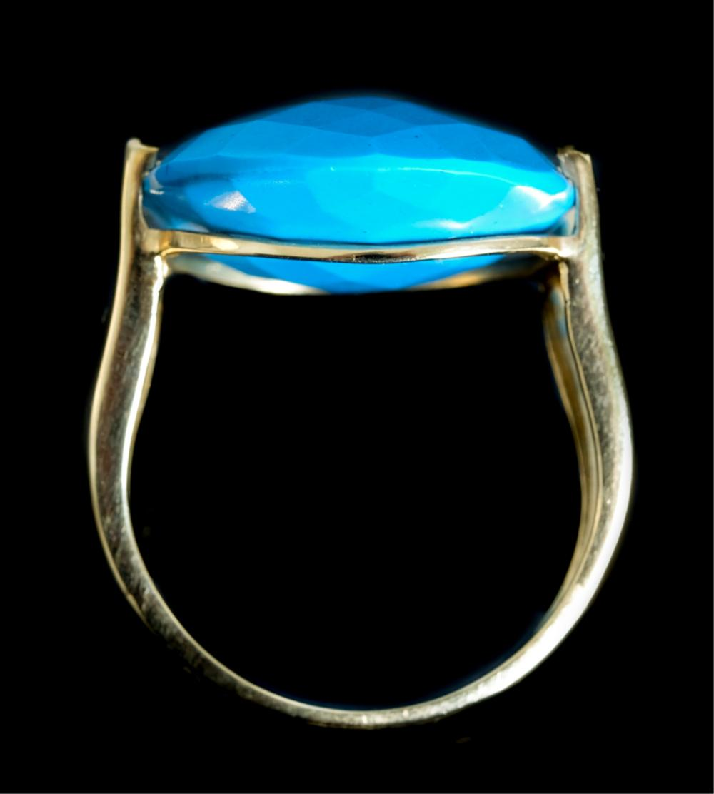 Designer 14k YG Turquoise Diamond Ring