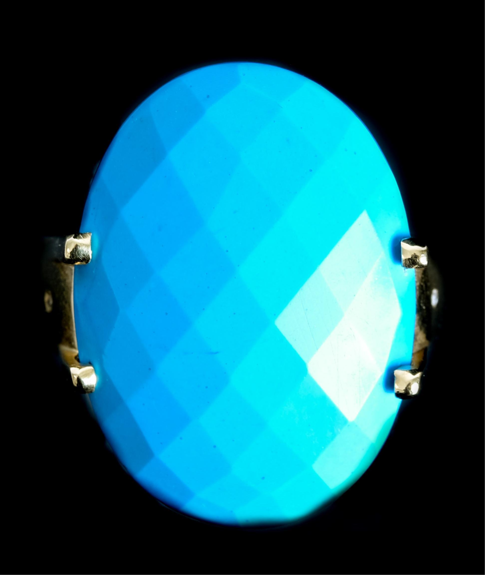 Designer 14k YG Turquoise Diamond Ring