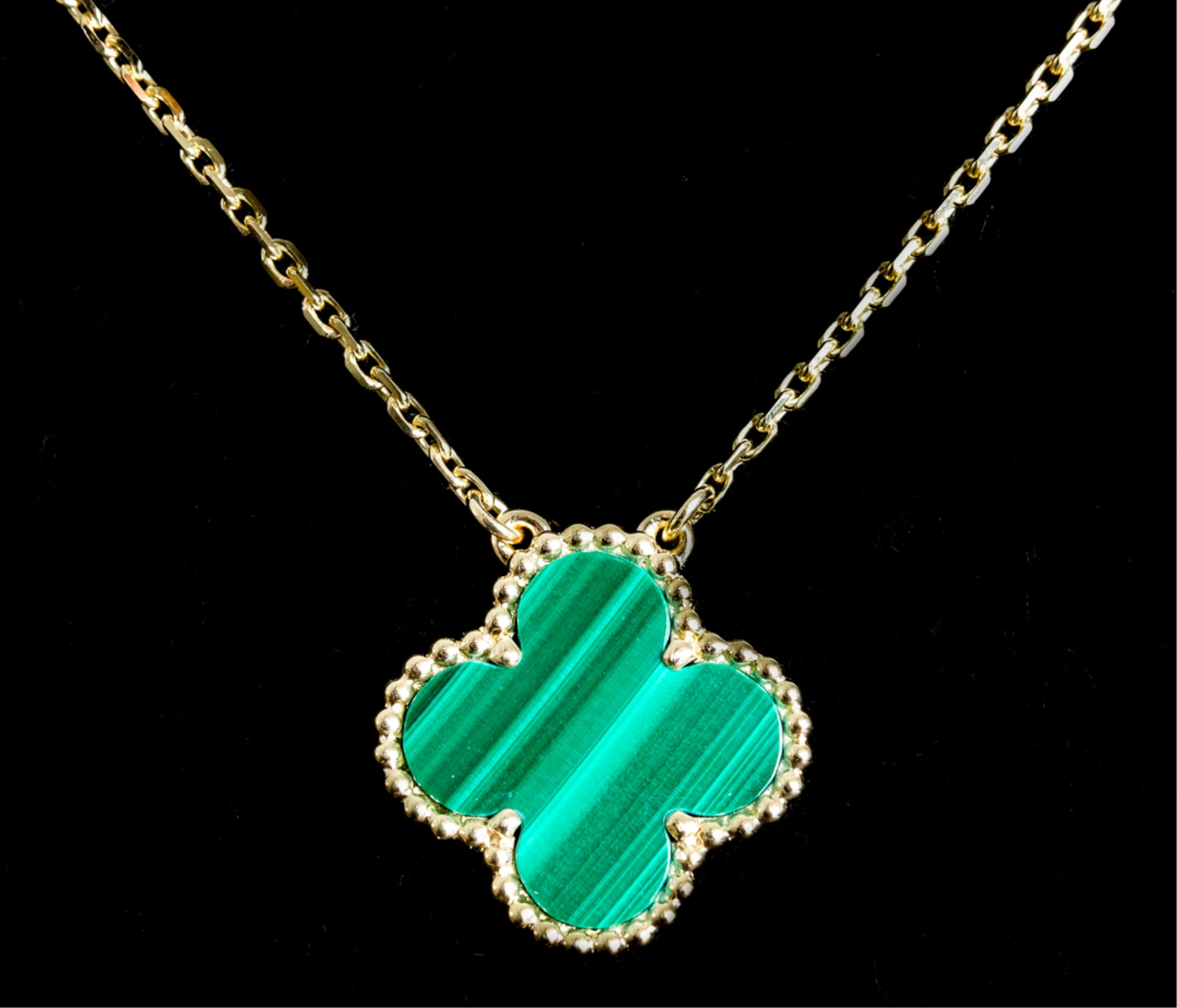 Attr. VCA 18K YG Malachite Alhambra Necklace
