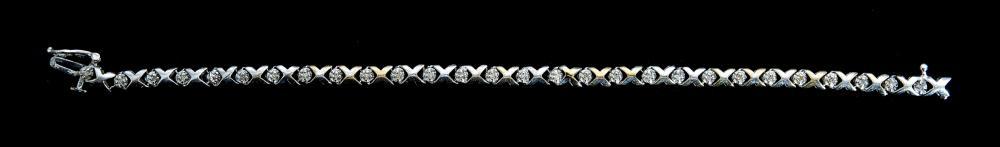 10K Yellow & White Gold XO Diamond Bracelet