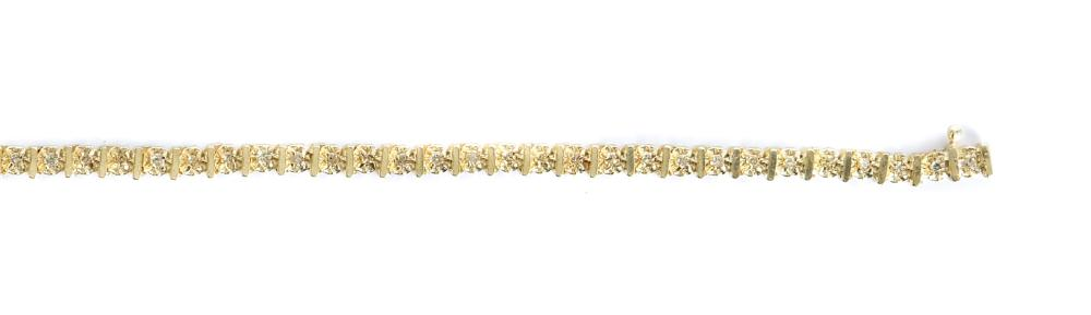 14k Yellow Gold & Diamond Tennis Bracelet