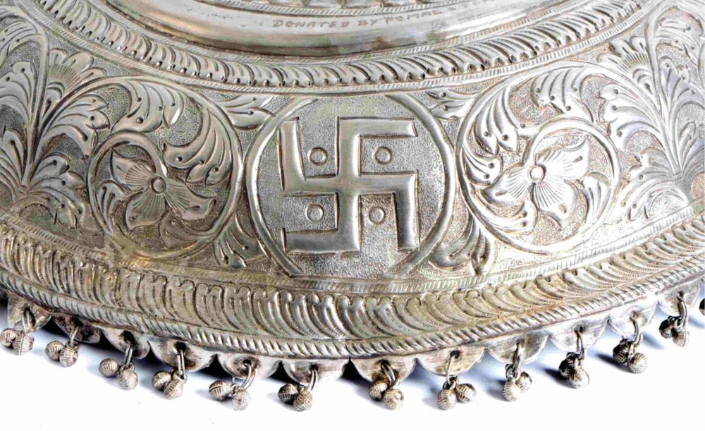 Large Silver Deity Chattar w/Ghungroo Bells