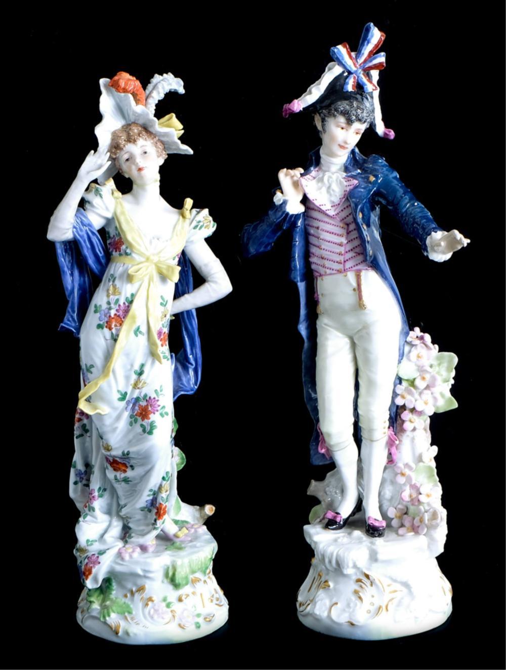 Pair, 19th C Meissen Costume Figures Alfred Konig