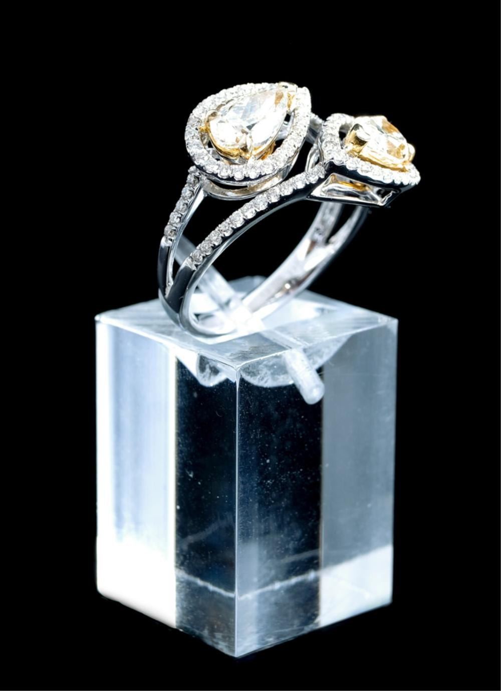 14k White & Yellow Gold Pear Shaped Diamond Ring