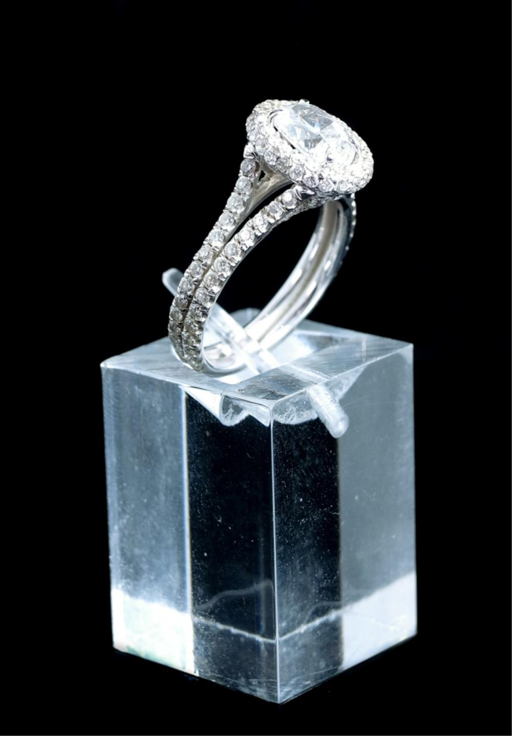14k White Gold Diamond Ring, Size 5 1/2