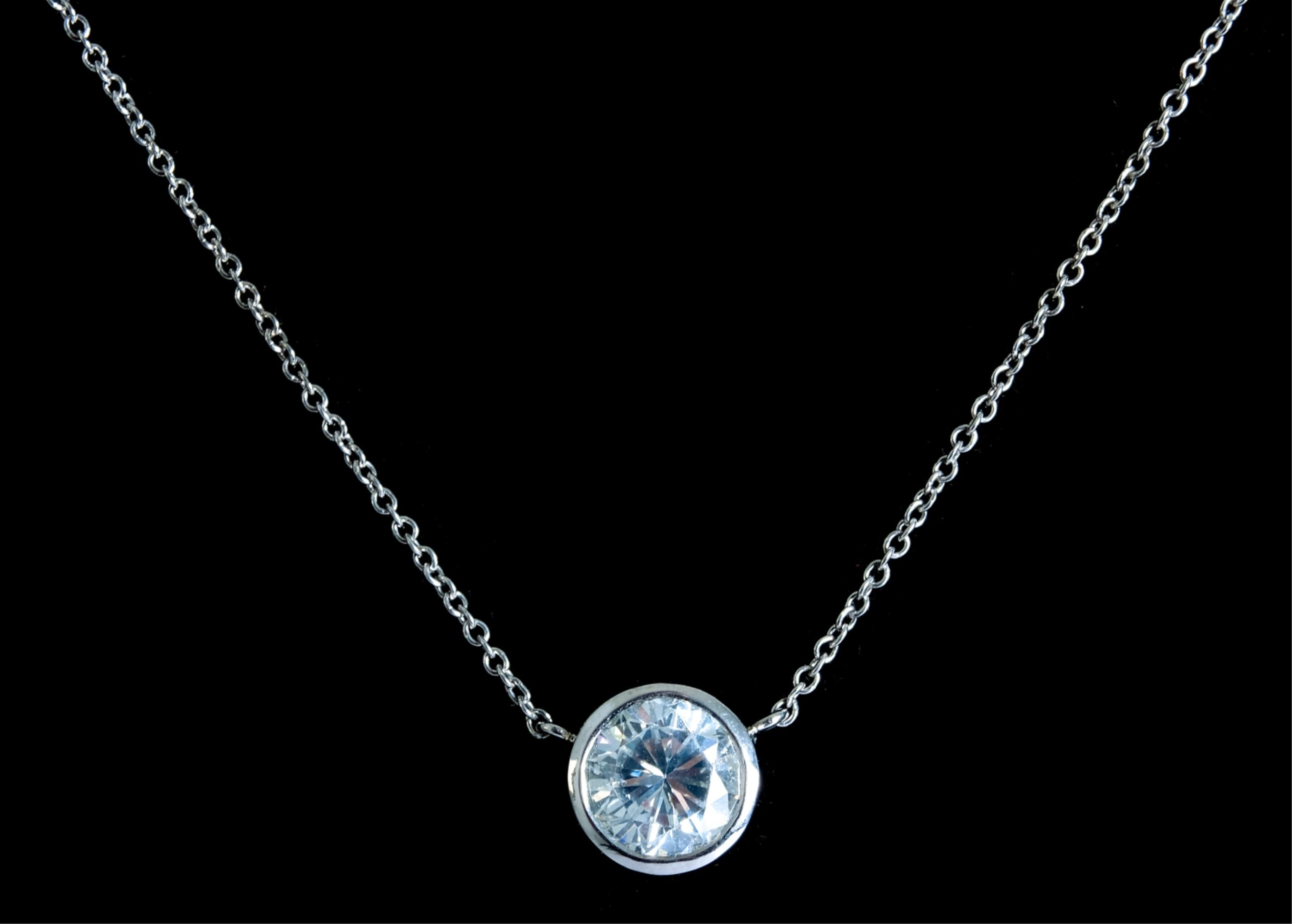 Italian 14k WG & 1CT Diamond Pendant Necklace