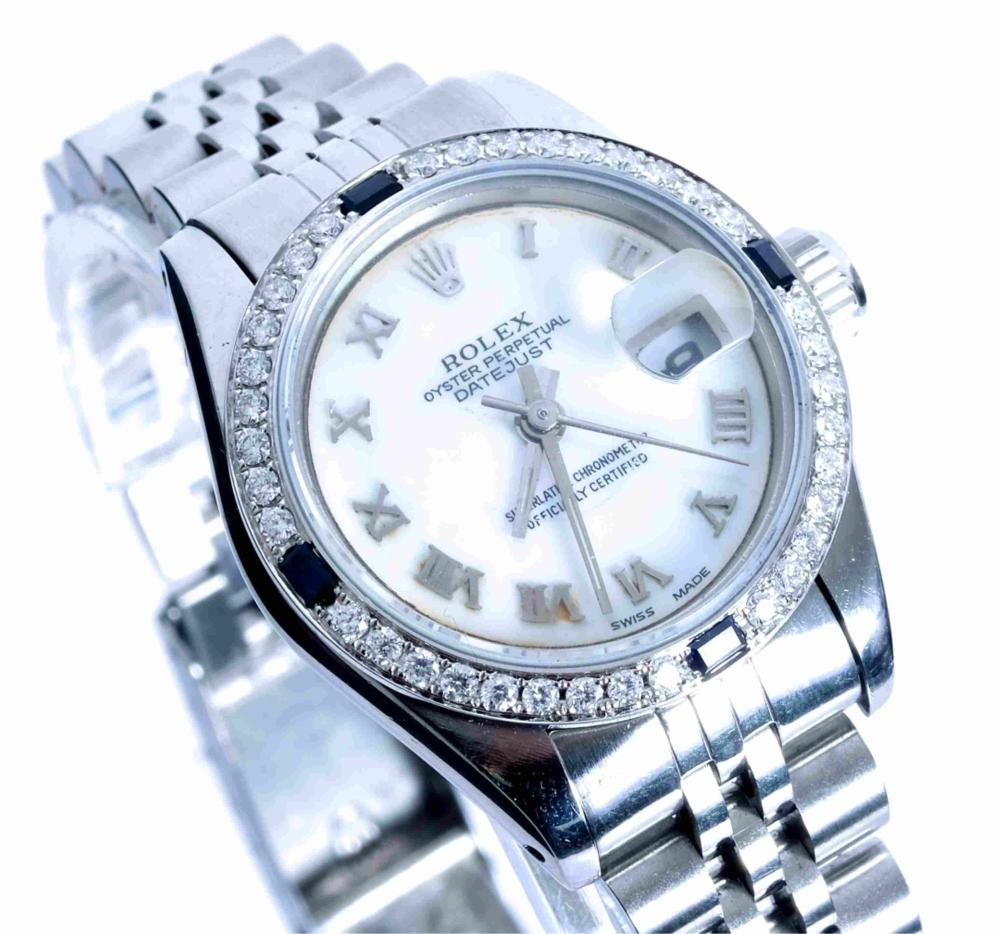Ladies Rolex Datejust w/ Sapphire & Diamonds