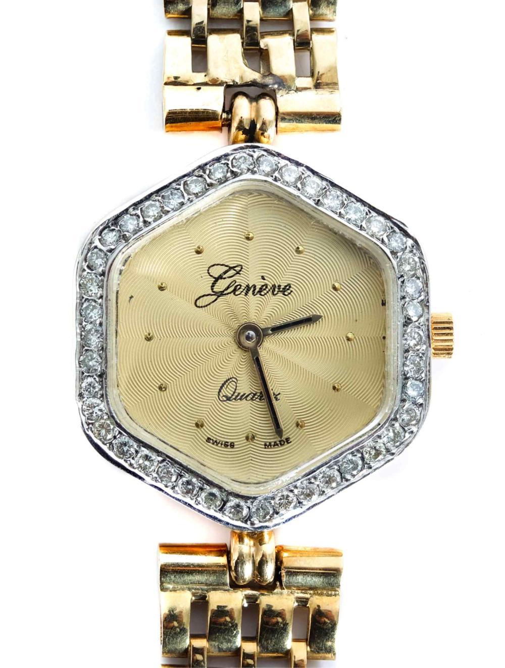 Vintage 14k Yellow Gold & Diamond Geneve Watch