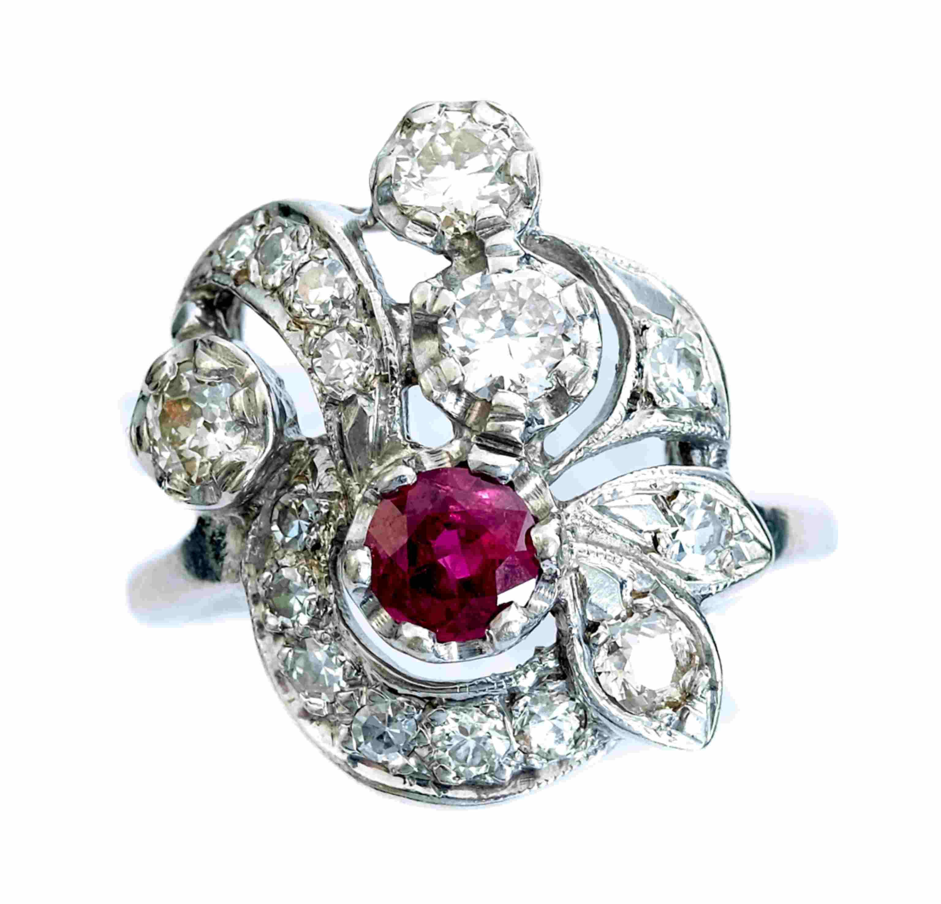 Vintage 14k White Gold Diamond & Ruby Ring, Size 8