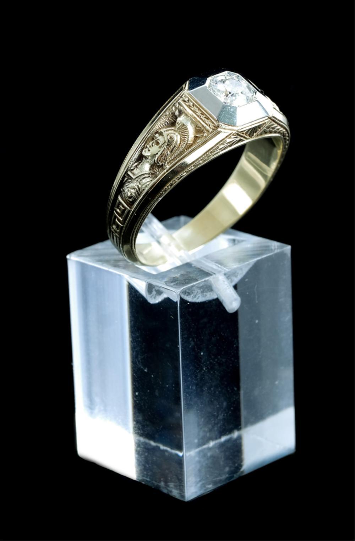 14k Yellow & White Gold Diamond Men's Ring