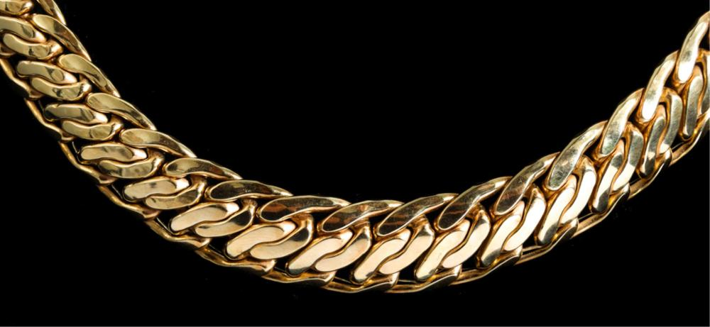 Large 14k Yellow Gold Curb Chain Necklace