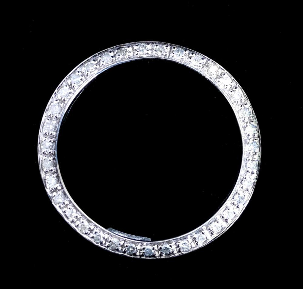14K White Gold & Diamond Open Circle Pendant