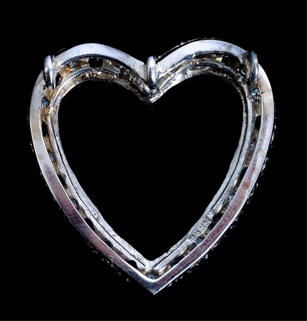 14k White Gold Diamond & Sapphire Heart Pendant