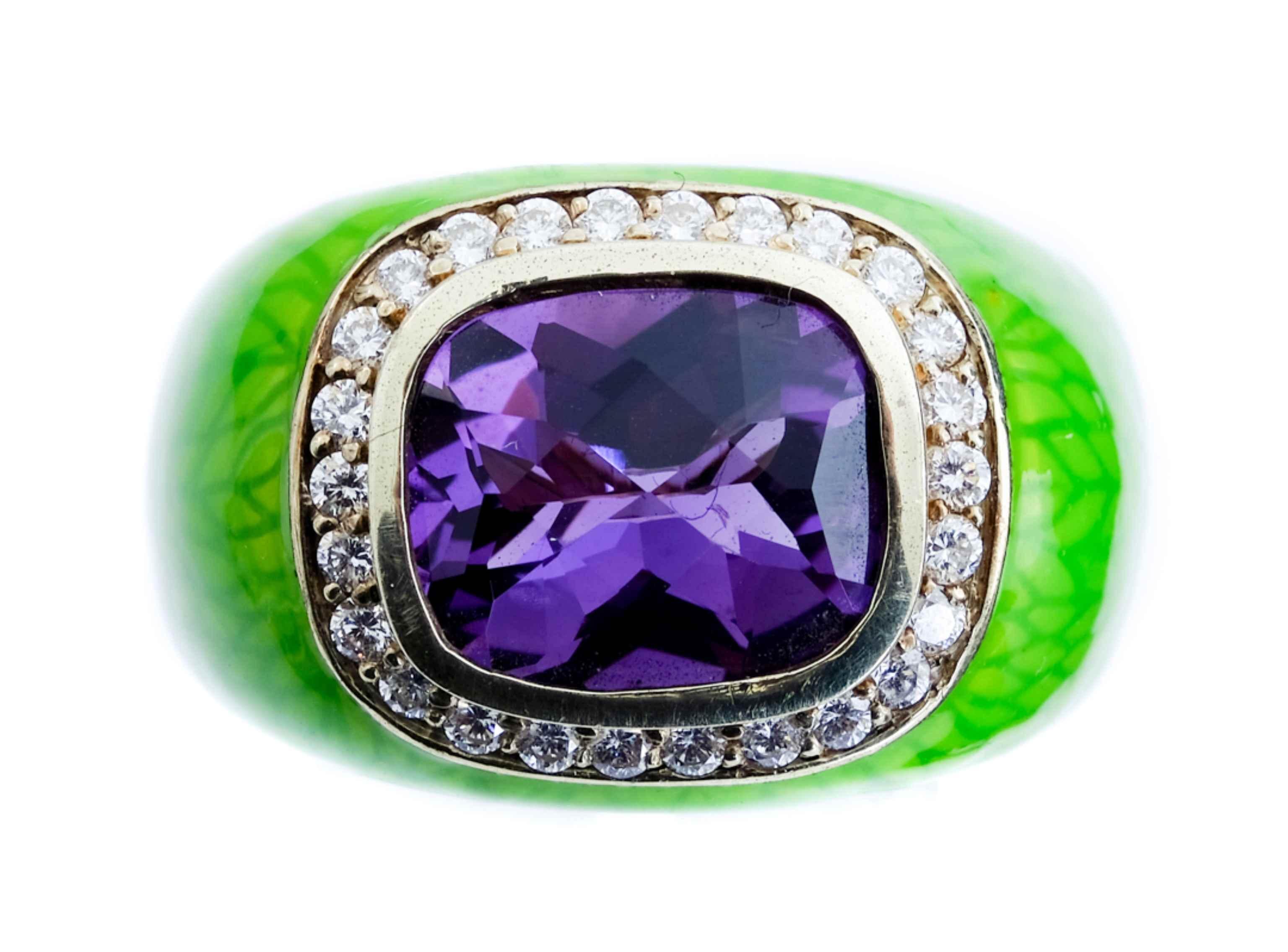 14k YG Amethyst Diamond & Enamel Ring, Size 10