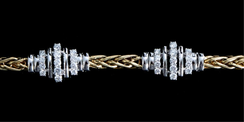 14K White & Yellow Gold Bracelet w/65 Diamonds