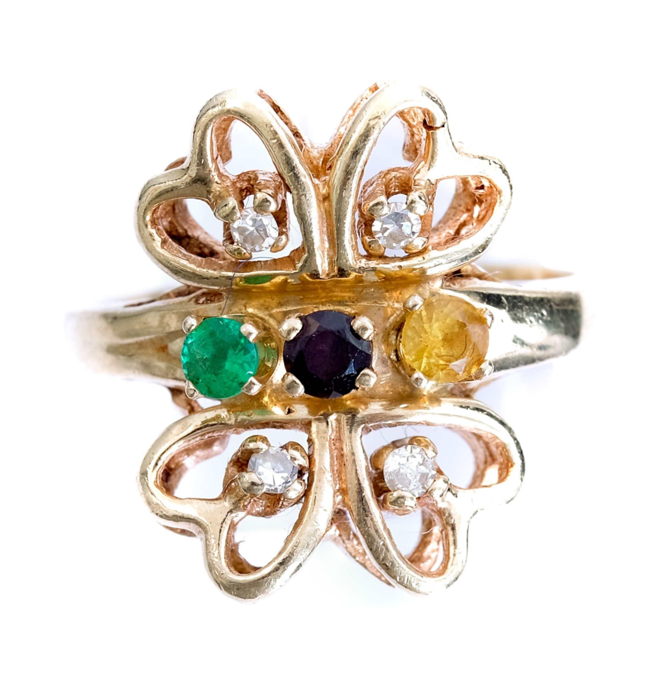 14k Yellow Gold Diamond & Gemstone Ring
