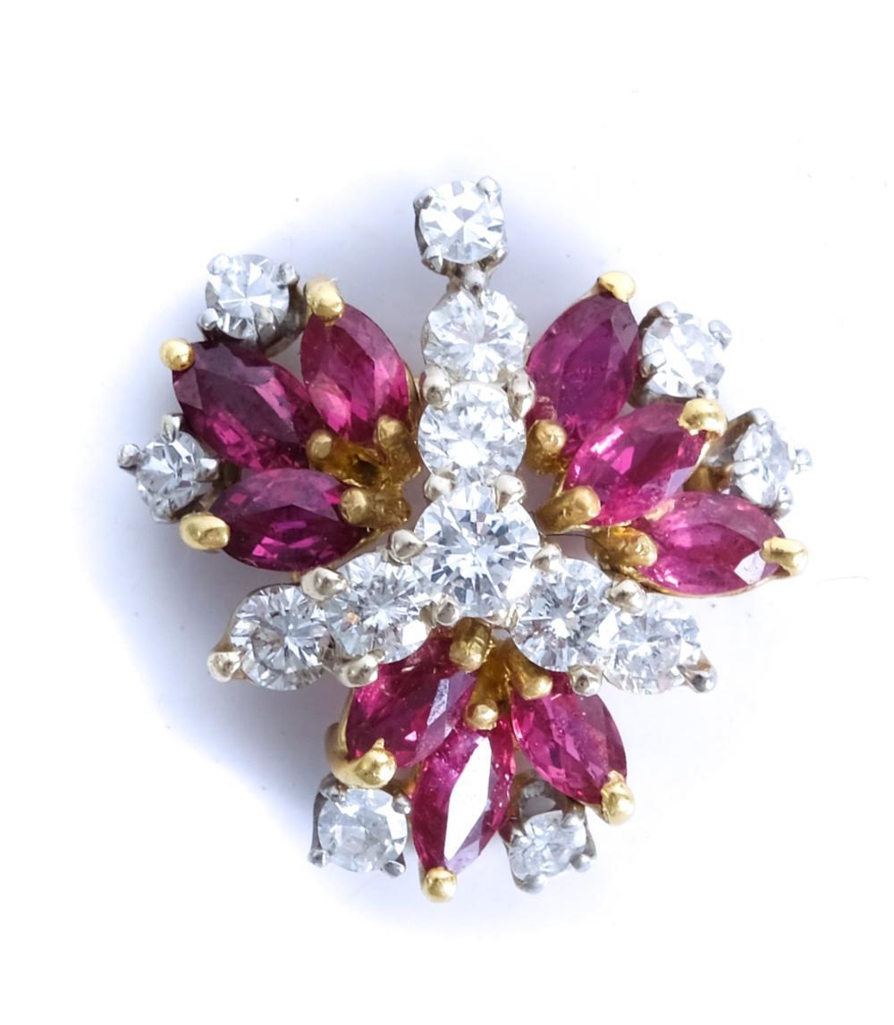 14k WG YG Diamond & Ruby Pendant