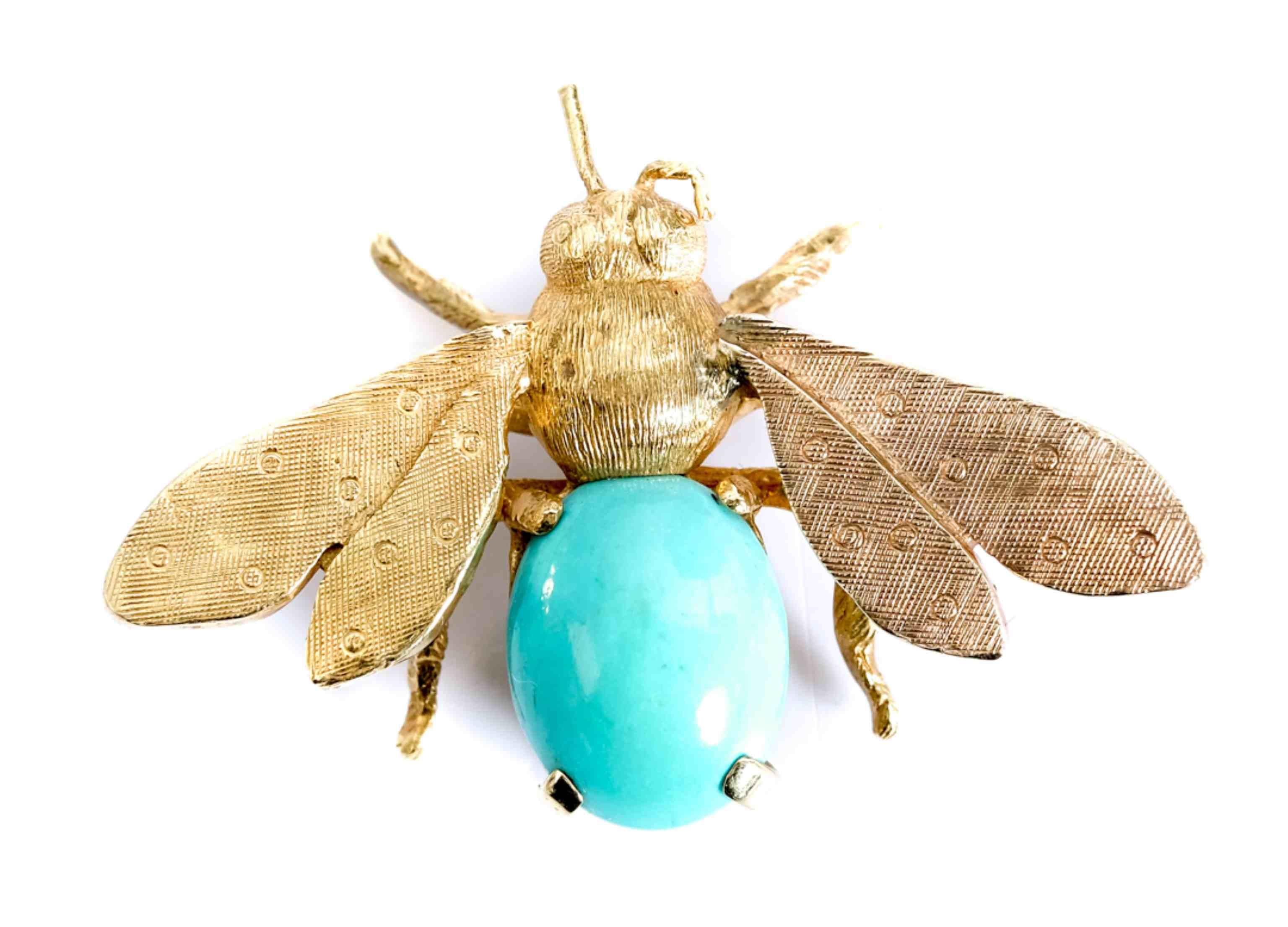 18k Yellow Gold Bee Turquoise Pin Brooch