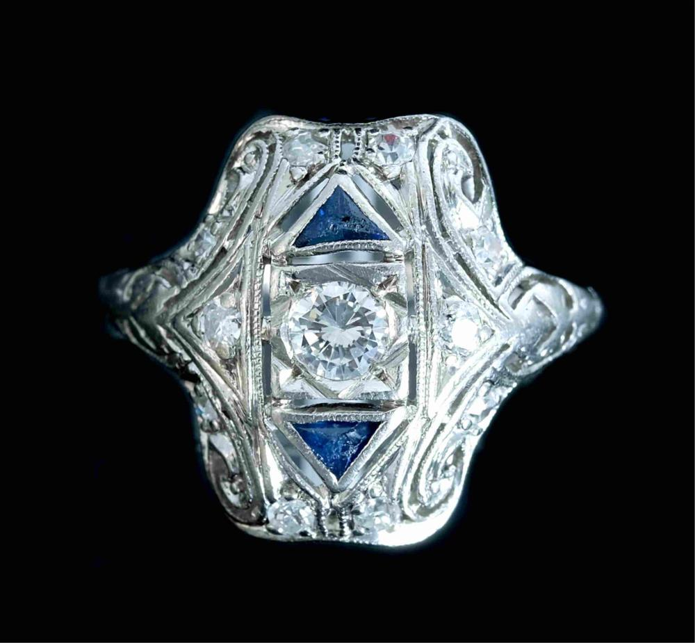 Art Deco Style Platinum Diamond & Sapphire Ring