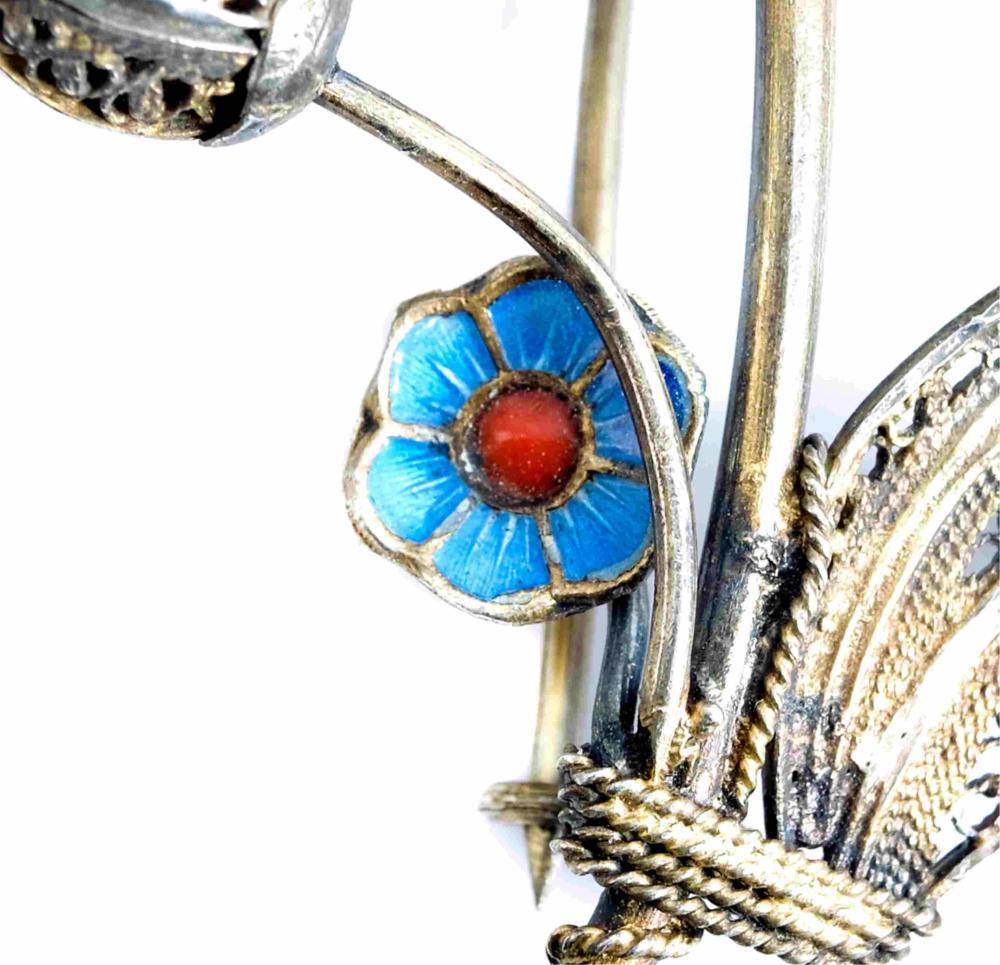 Art Nouveau Gold .833 Silver Guilloche Poppy Pin