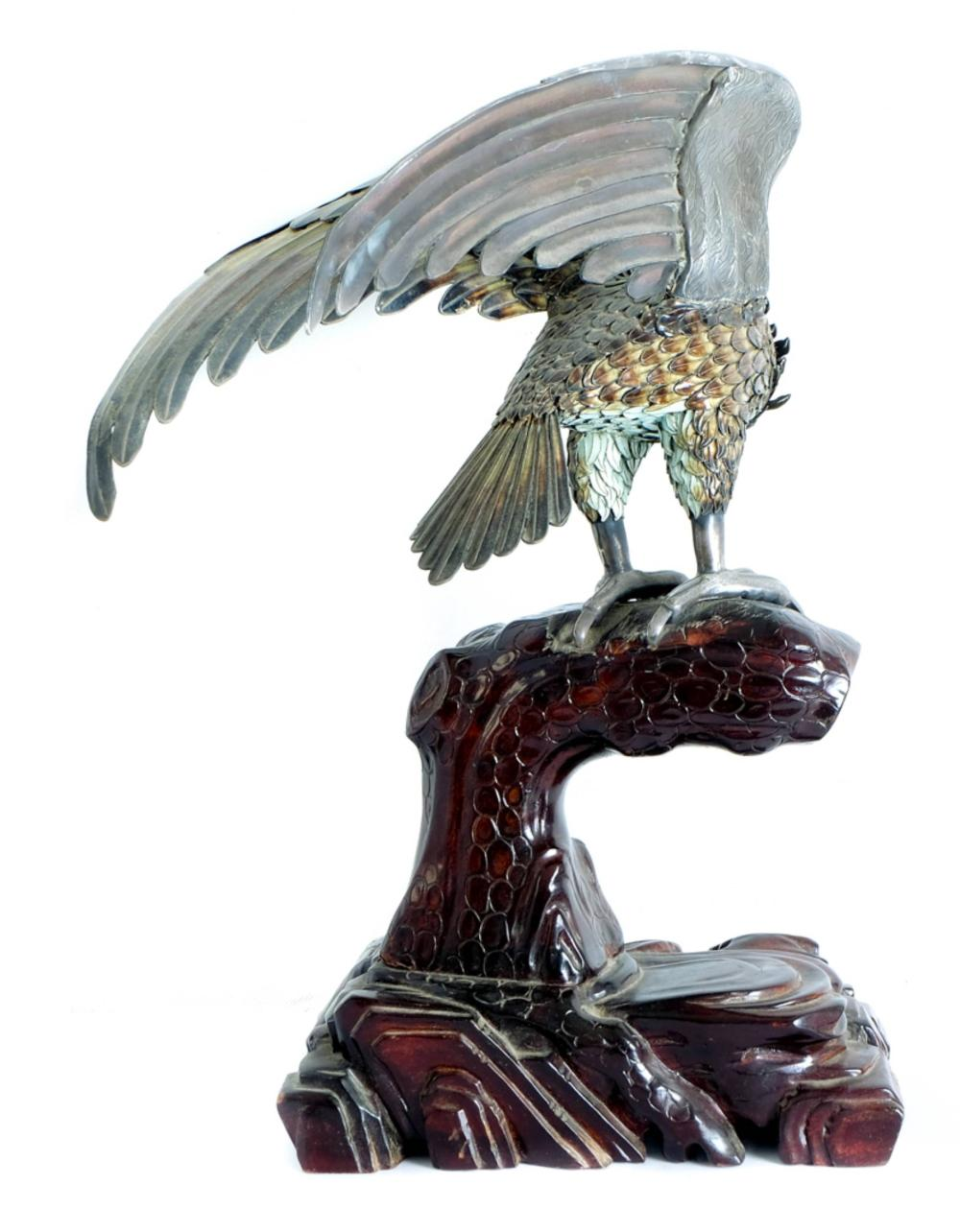 Chinese Export Sterling Enameled Hawk on Base