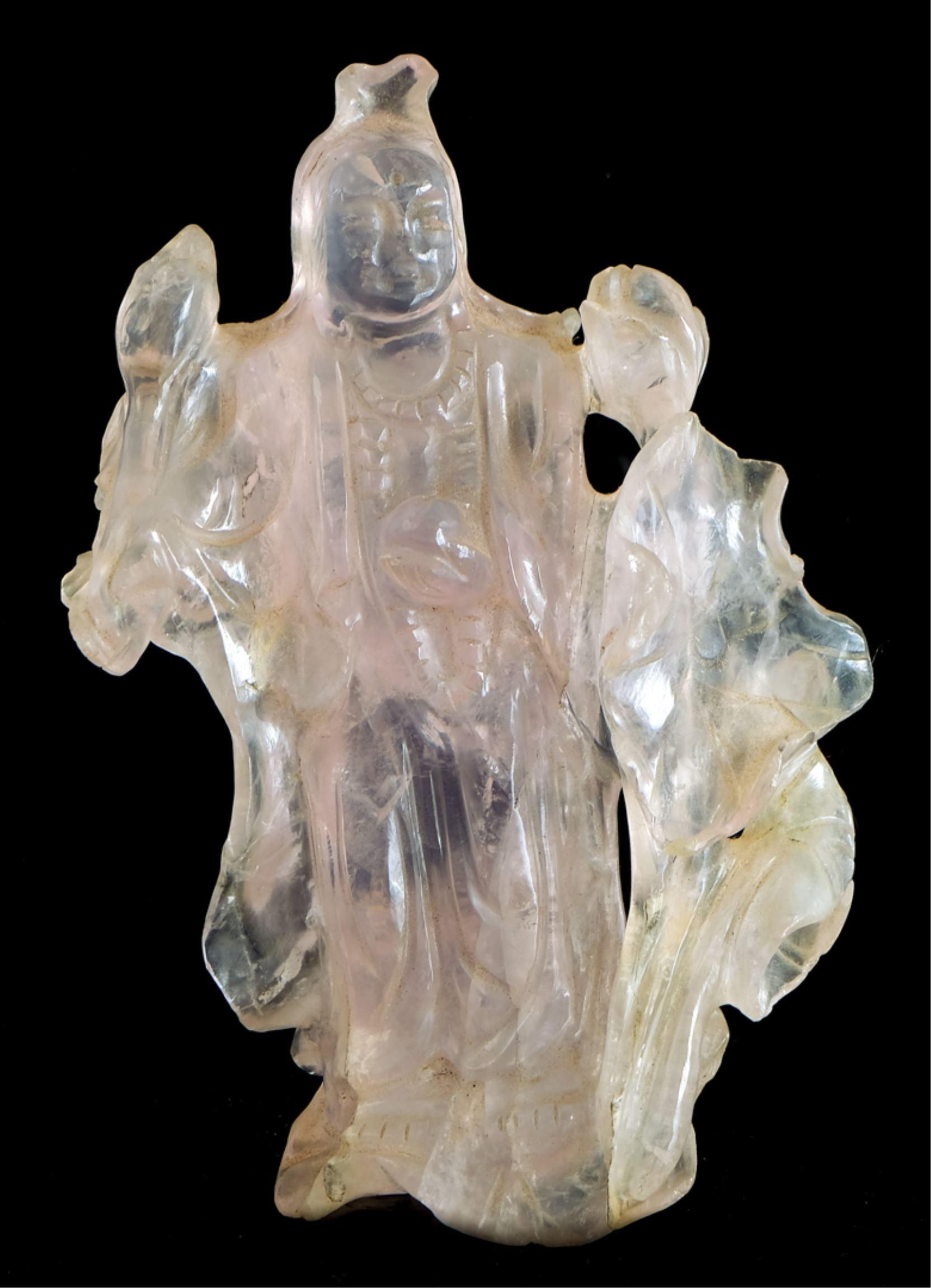 Chinese Light Pink Carved Sculpture of Guan Yin