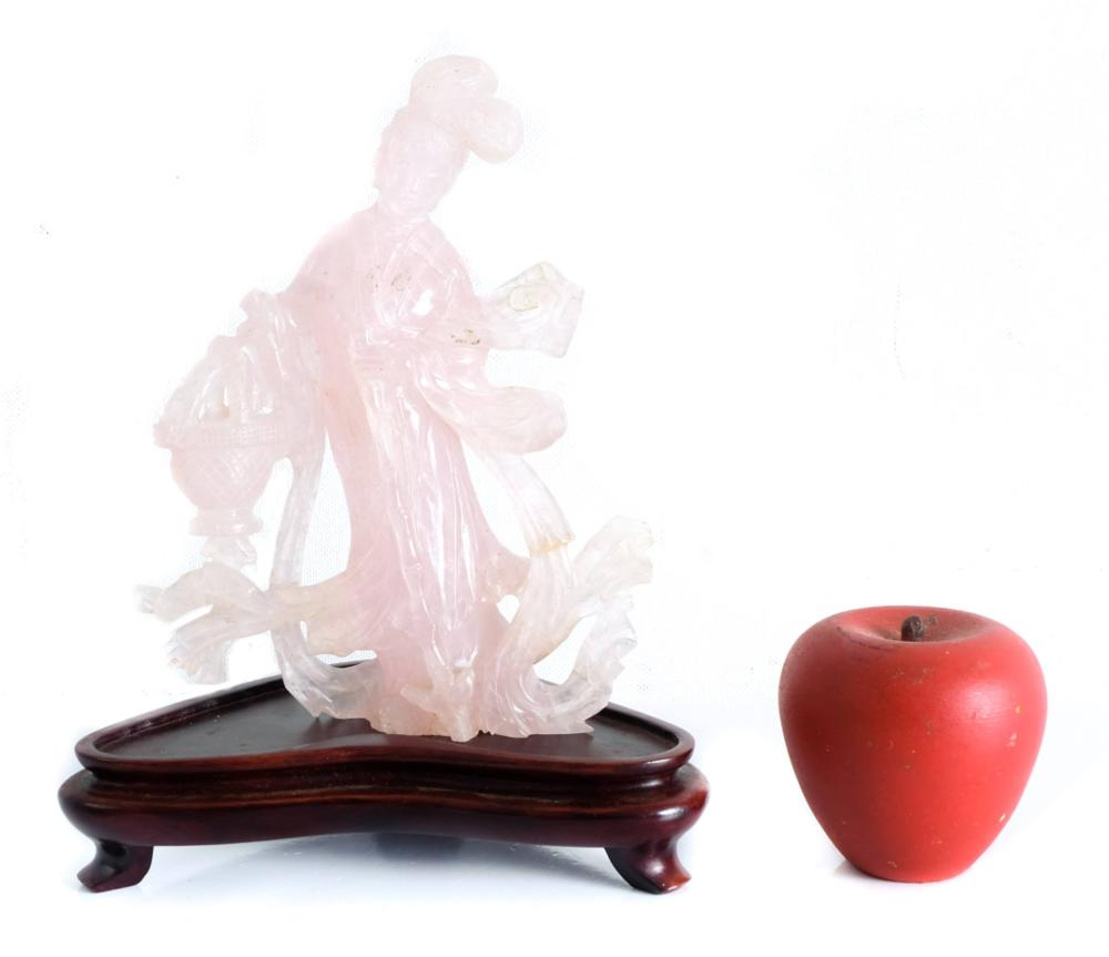 Chinese Pink Jade Carved Sculpture of Guan Yin
