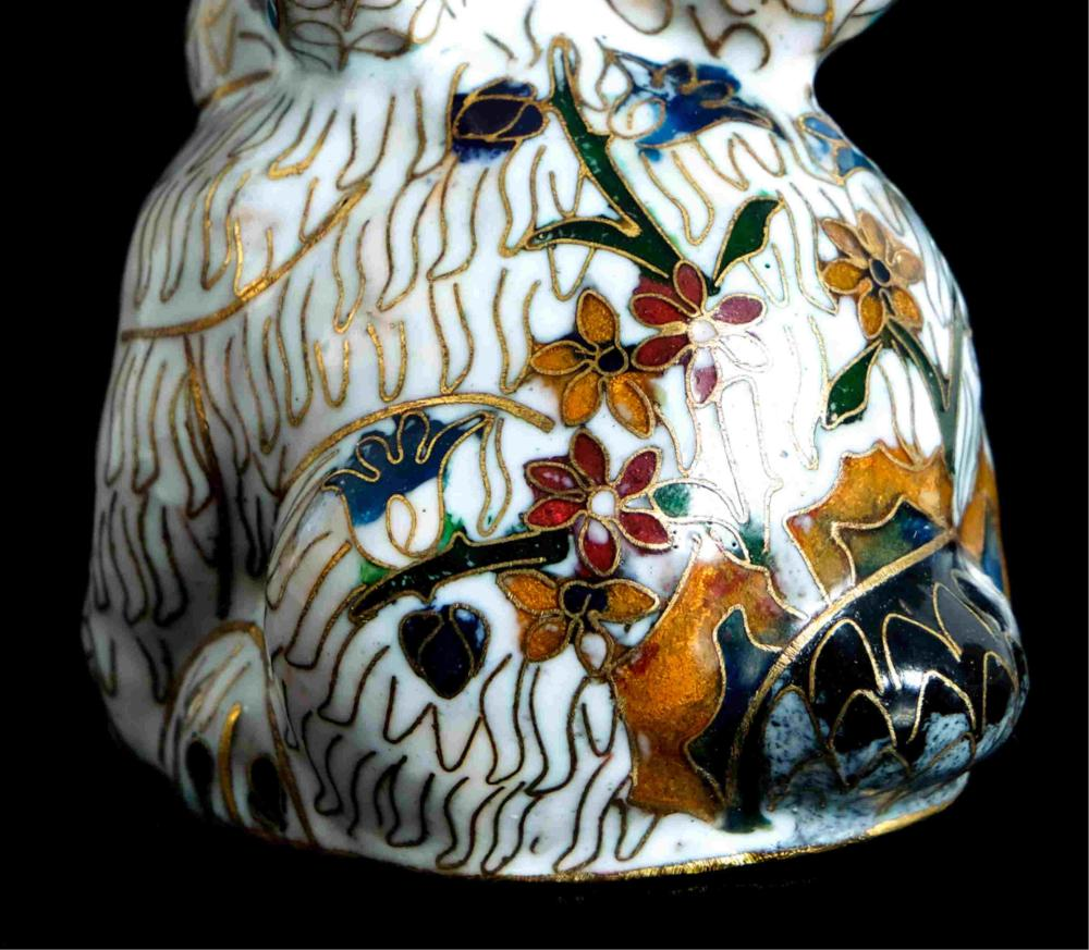 Chinese Porcelain Cloisonne Inlaid Rabbit
