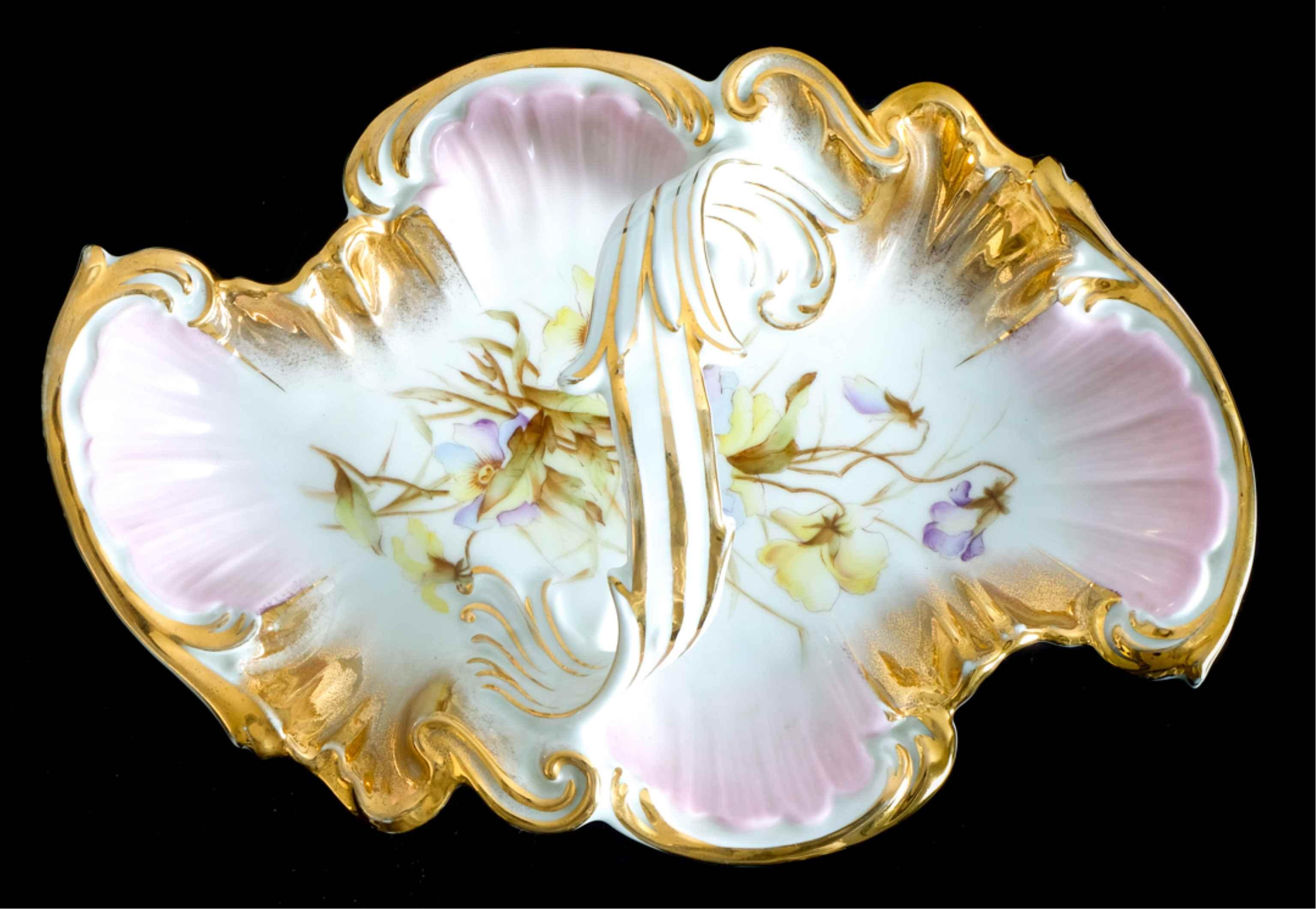 Dresden Hand Painted Handled Leafy Dish