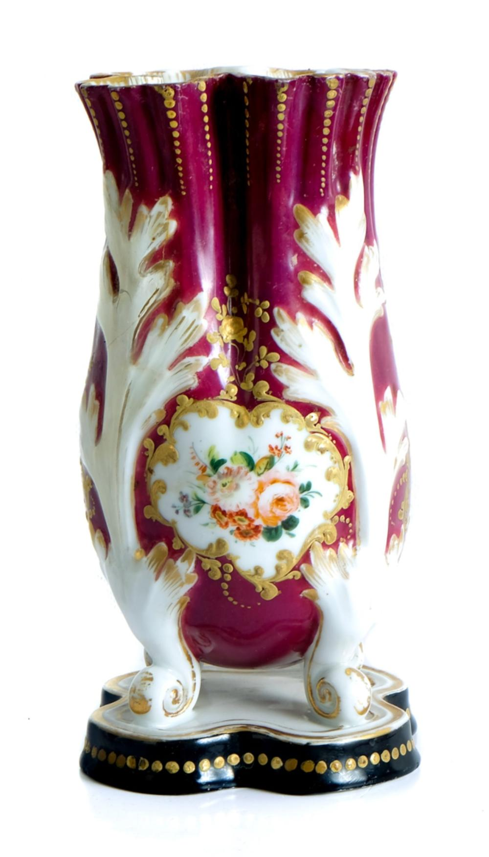 Pair, French Porcelain Lettuce Form Vases