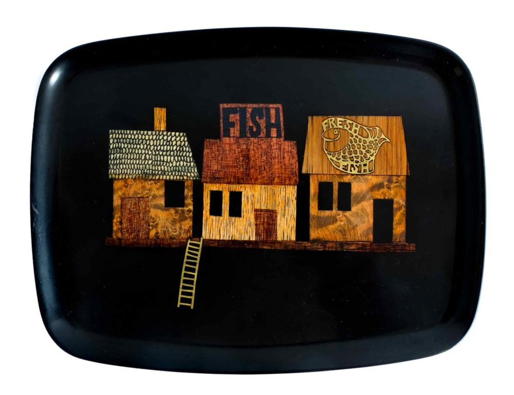 Collection of Six MCM Courac Lacquered Trays