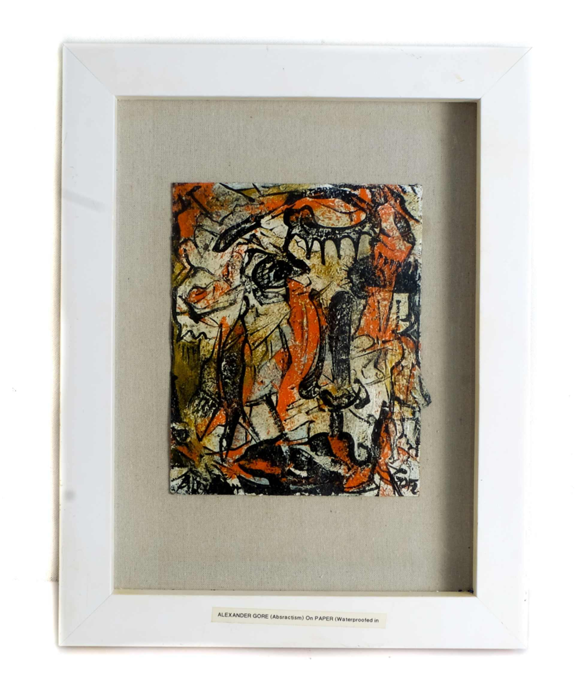 Alexander Gore Abstract Oil on Paper Signed COA