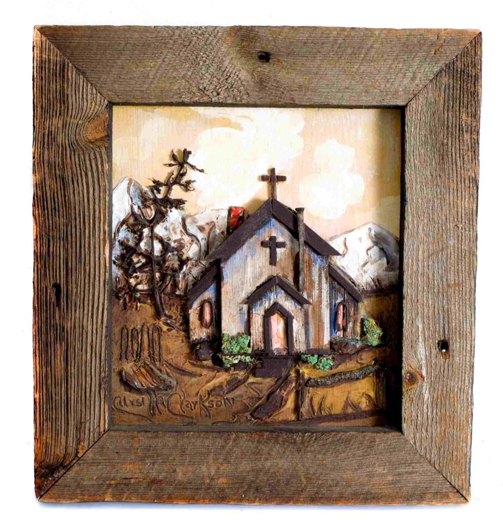 Ursilla Clarkson Ghost Town Folk Art - 2 Works