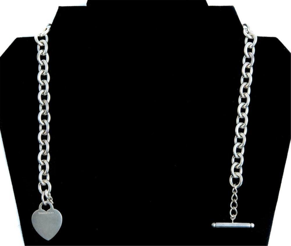 Tiffany & Co. Sterling Necklace w/Heart Shaped Tag