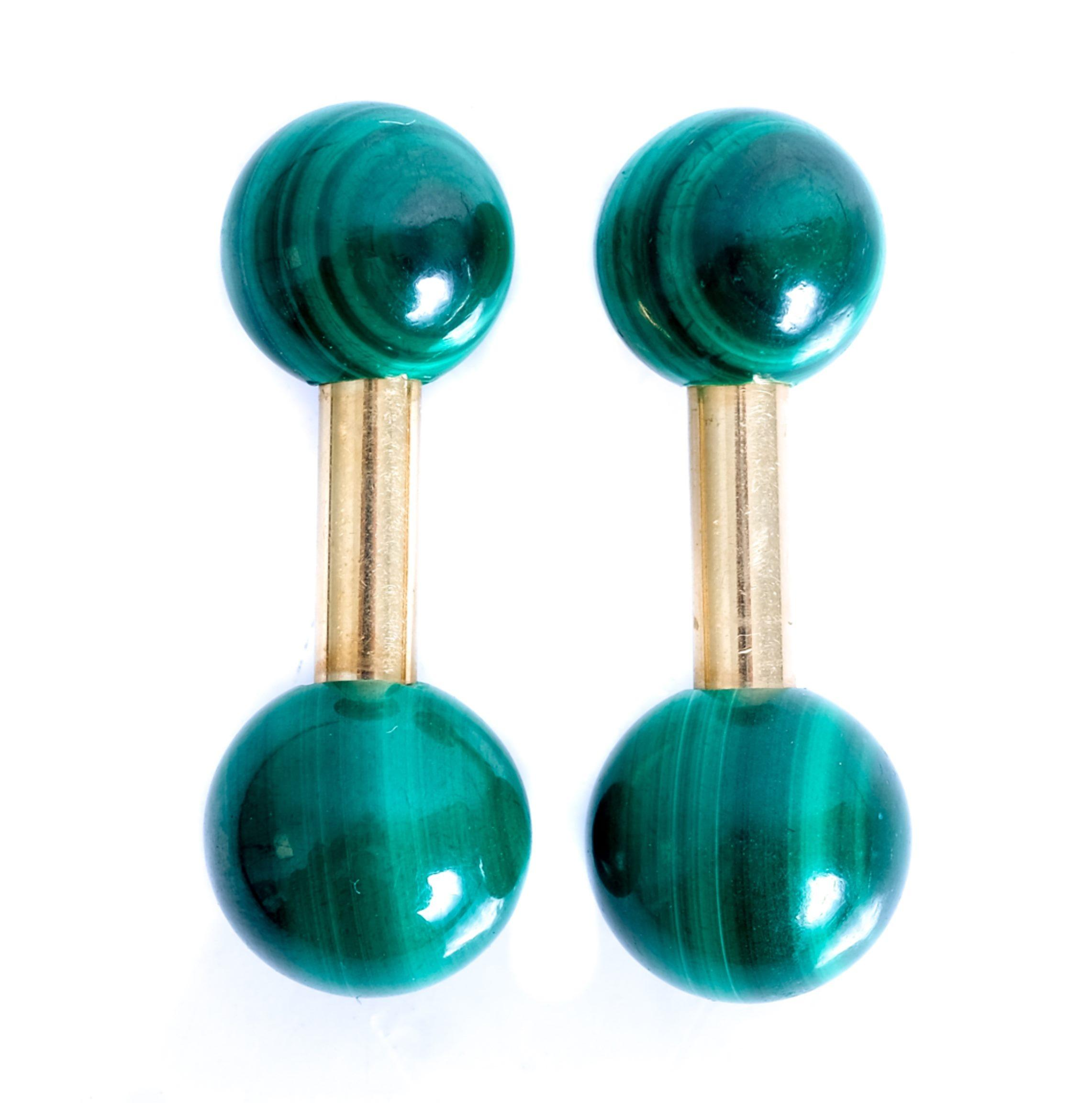 Tiffany & Co 14k YG Malachite Barbell Cufflinks