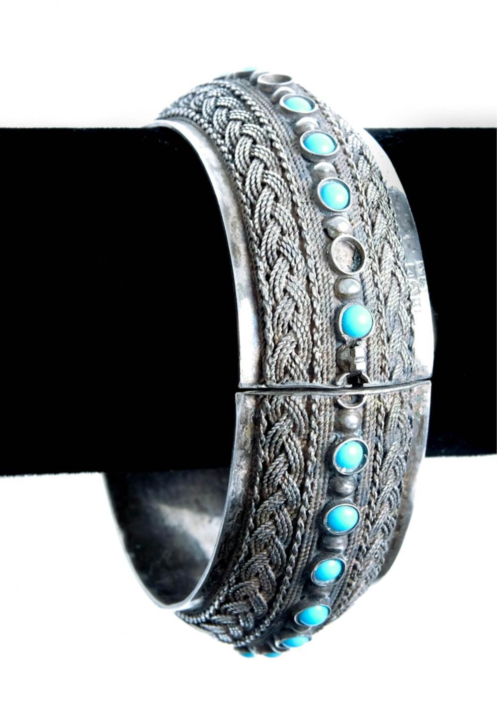 Egyptian 800 Silver & Turquoise Hinged Bracelet