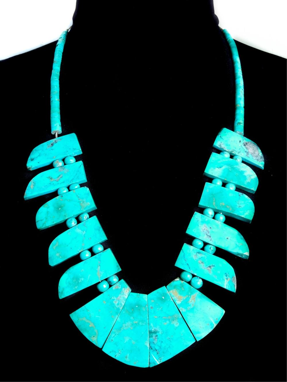 Santo Domingo Turquoise Necklace w/Heishi Beads