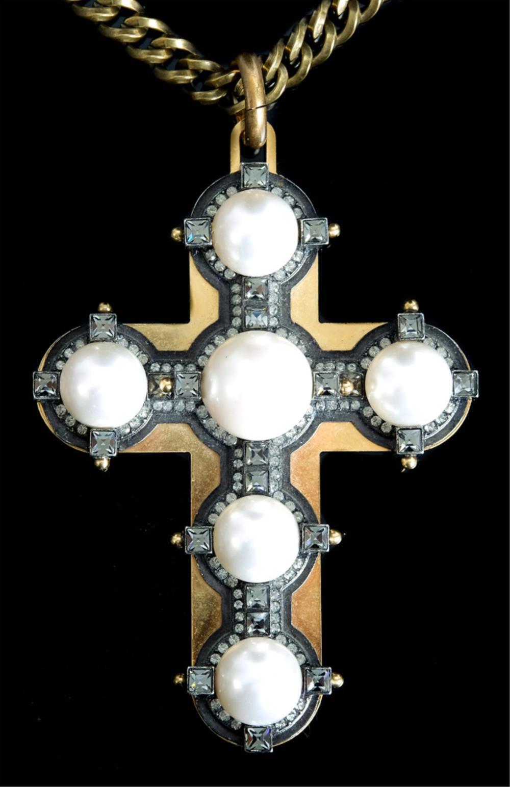 Large Lanvin Paris Cross Pendant Necklace