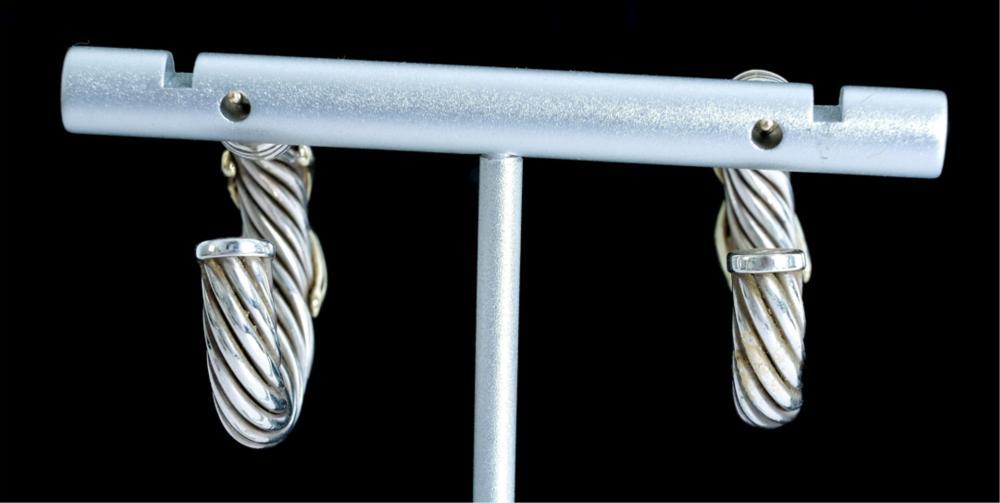 David Yurman 14k & 925 Hoop Earrings