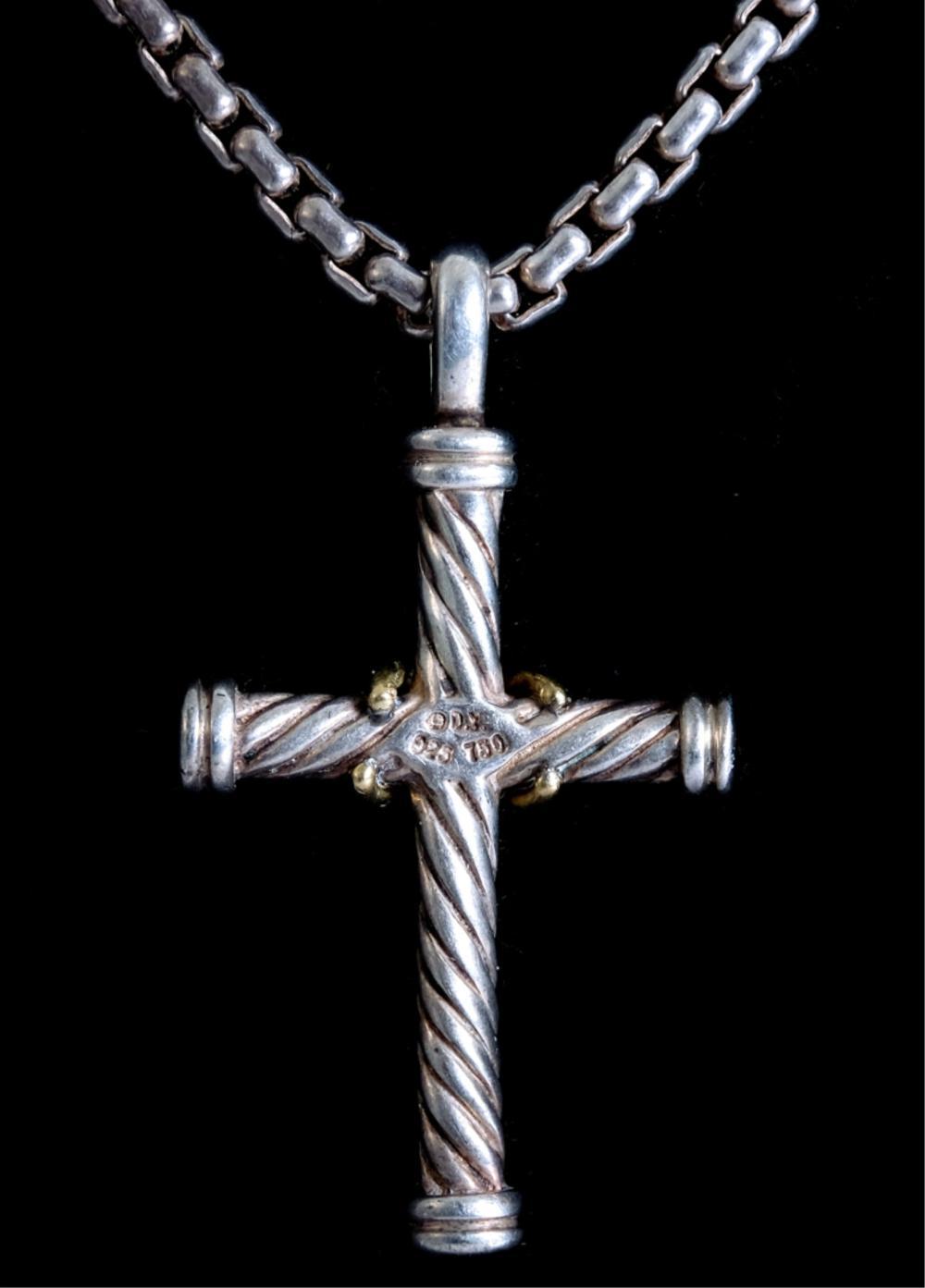 David Yurman 18K 925 Cable Cross Necklace
