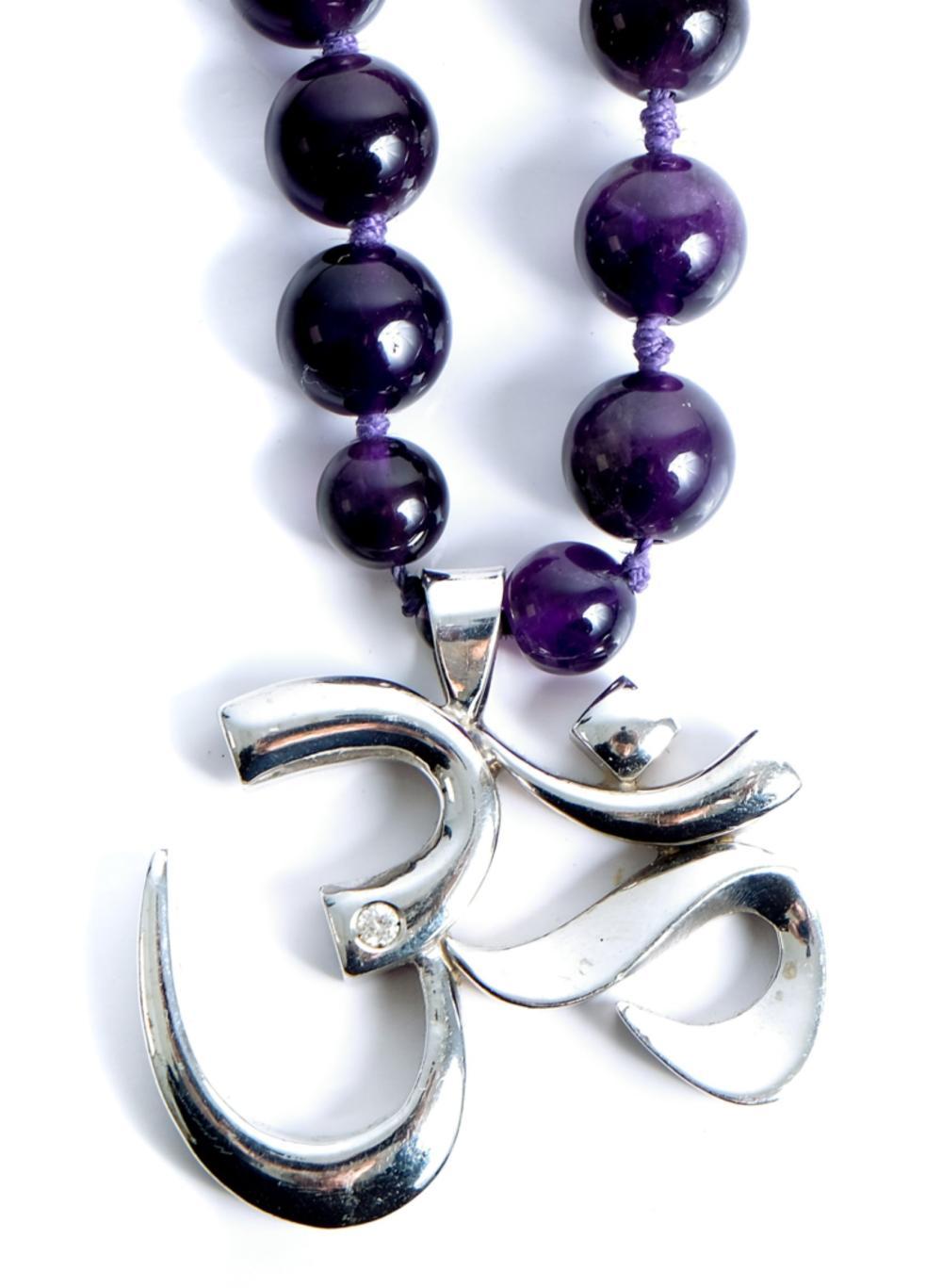 18k WG Amethyst & Diamond OM Necklace