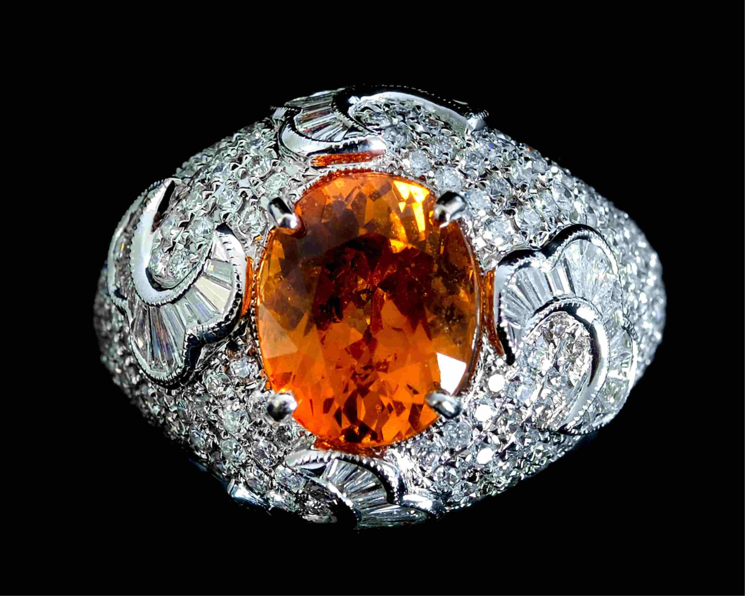 18K WG Orange Spessartite Garnet & Diamond Ring
