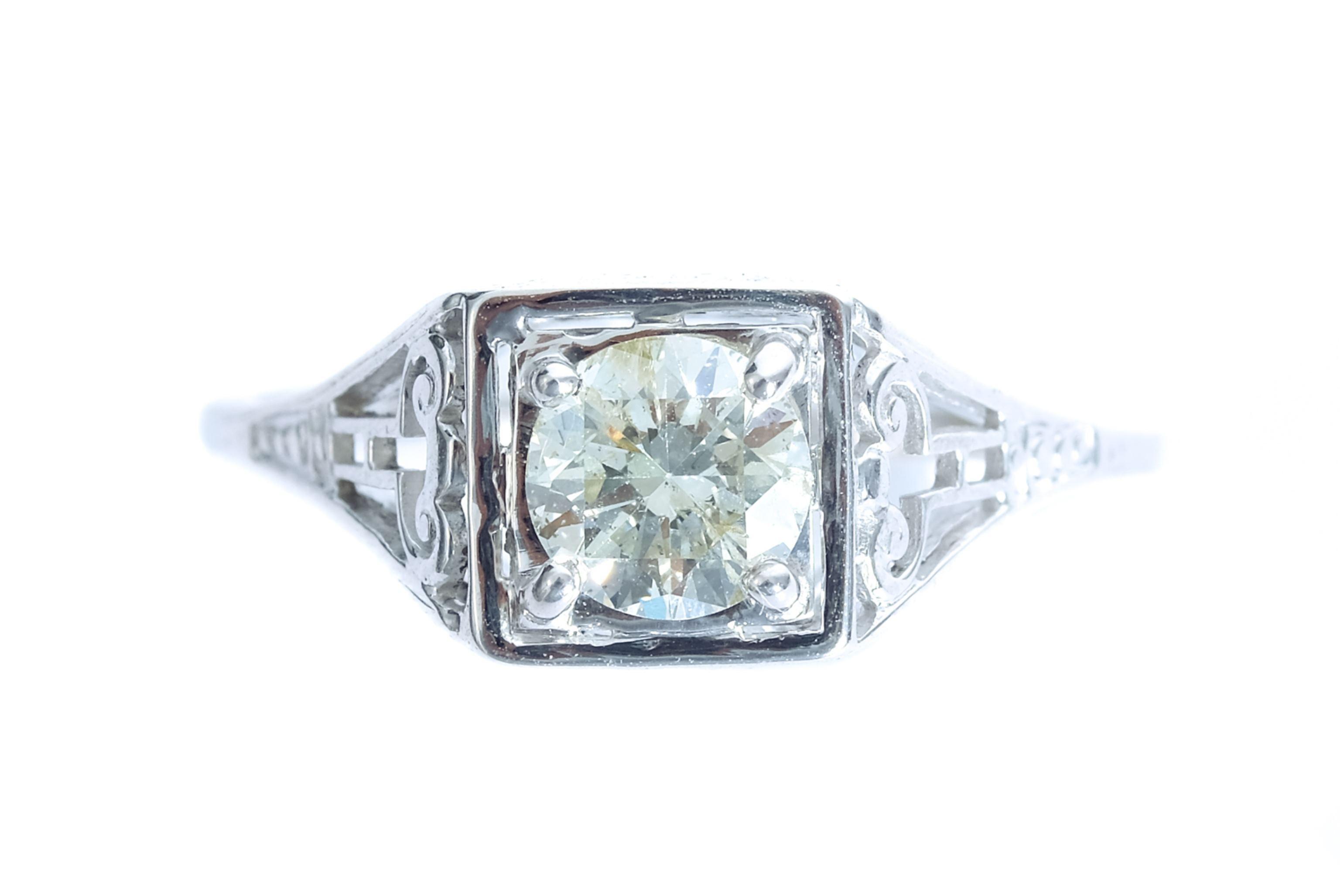 14k White Gold & Diamond Filigree Ring, size 6