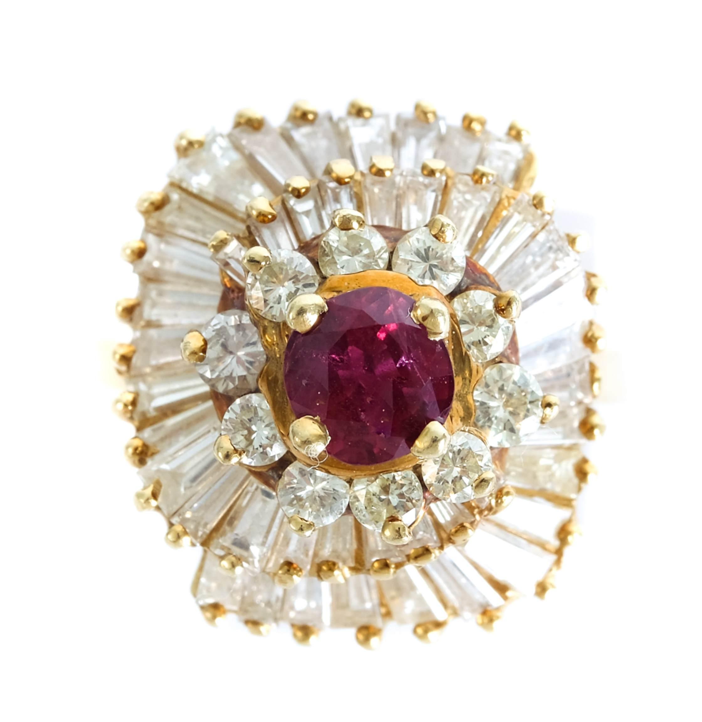 14k Yellow Gold Ruby & Diamond Swirl Ring