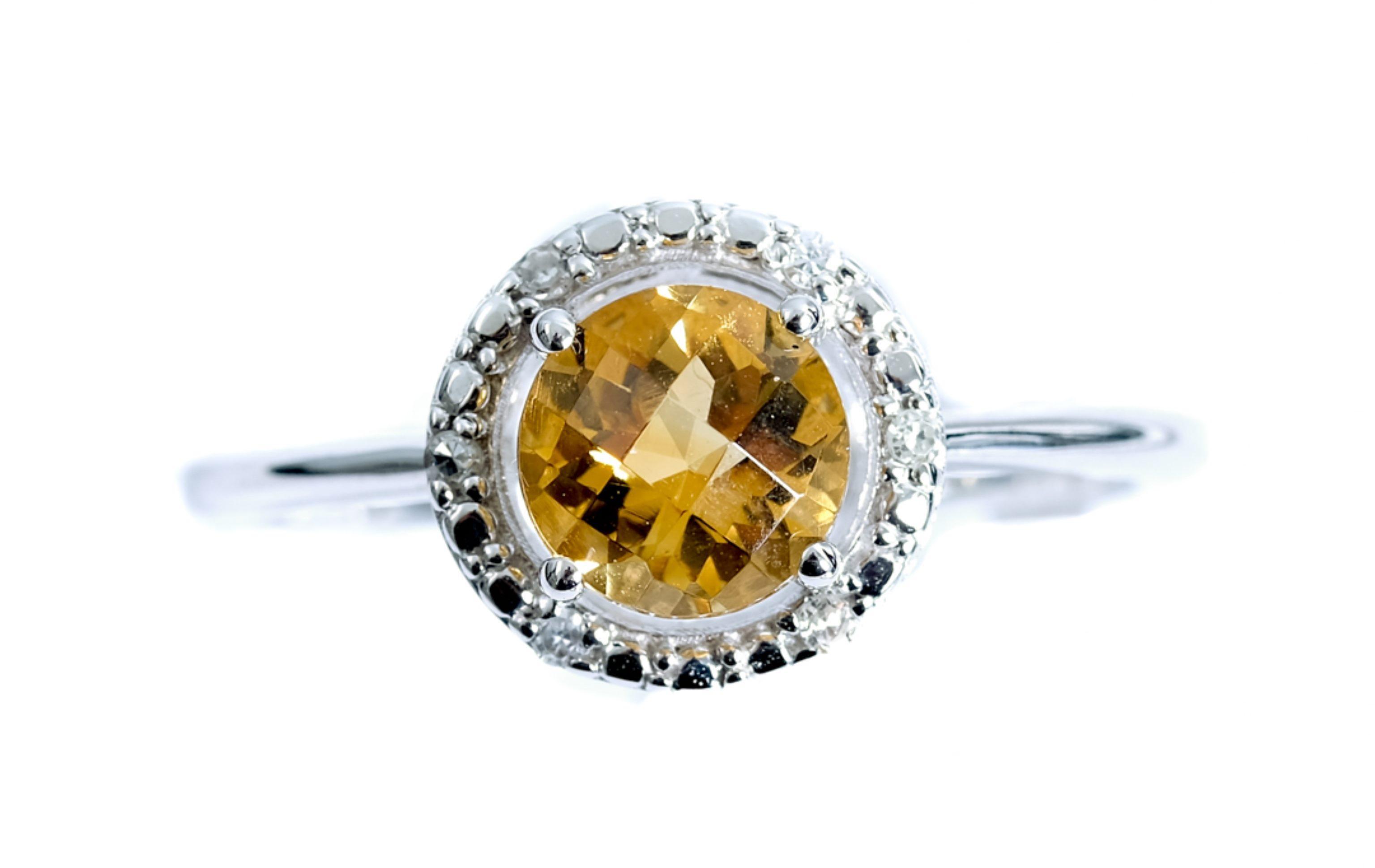 14k White Gold Diamond & 0.80ct Citrine Ring